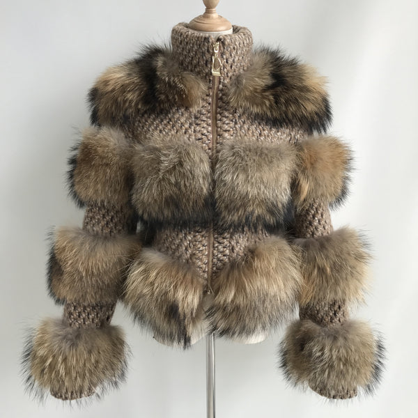 """Beige Virgine"" Fox Fur Jacket"