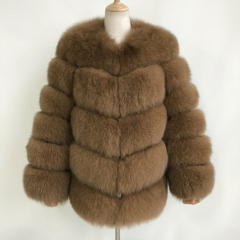 """Camel Louna"" Fox Fur Coat"