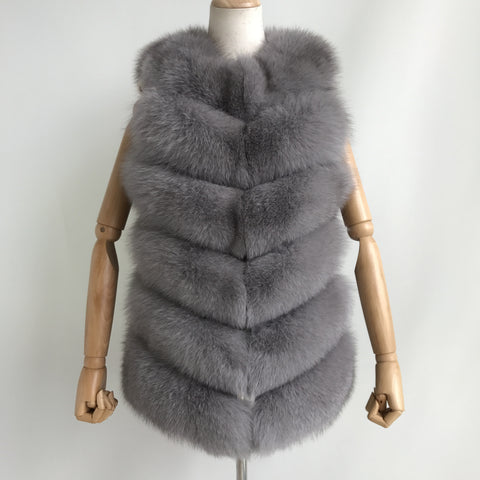 """Ash Grey Louna"" Short Fox Fur Vest"