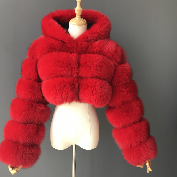 """Red Kim"" Hooded Cropped Fox Fur Jacket"