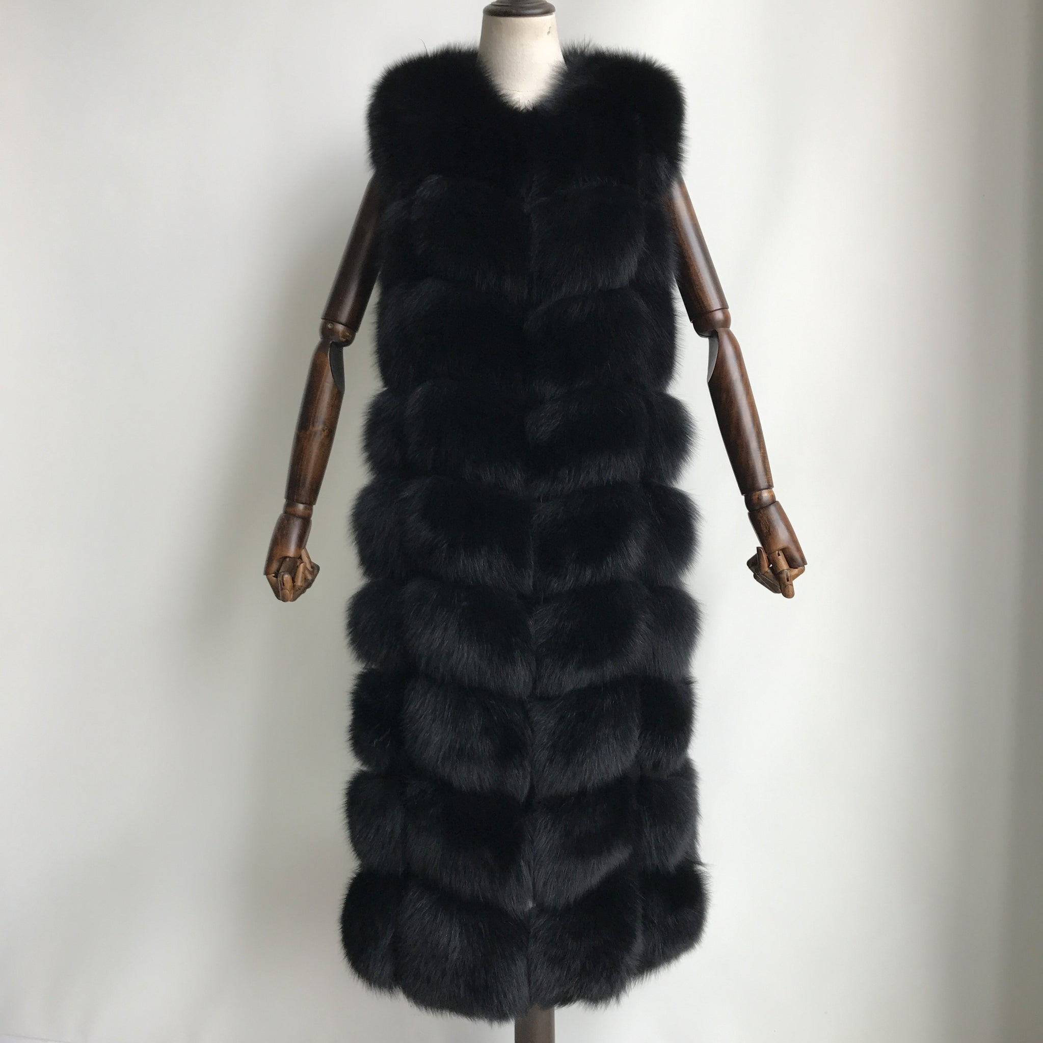 """Black Amelie"" long Fox Fur Vest"