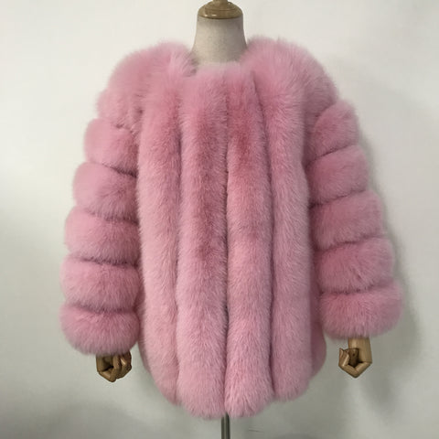 """Cotton Pink Grace"" Fox Fur Coat"