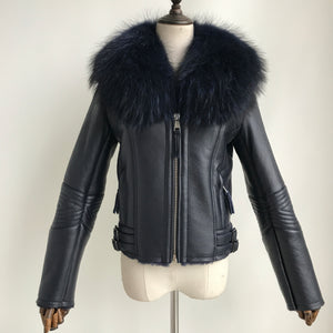 """Navy Blue Nightrider"" Lambskin Jacket"