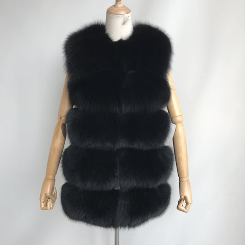 """Black Lilly"" Fox Fur Vest"