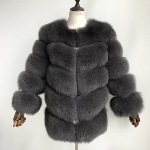"""Ash Grey Louna"" Fox Fur Coat"
