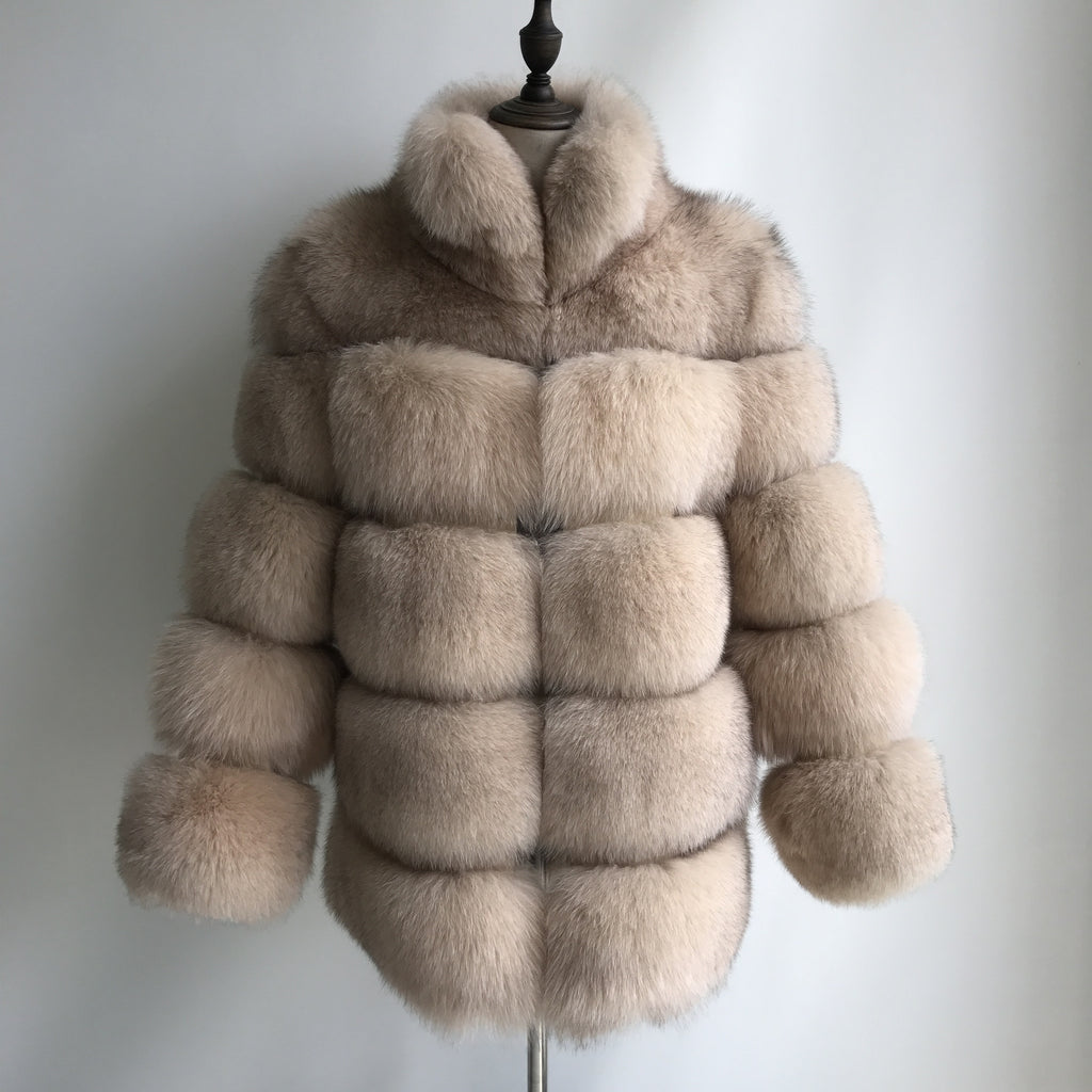 """Beige Lisa"" Fox Fur Coat"