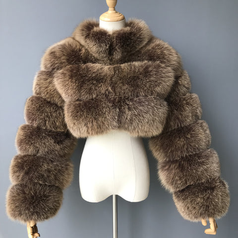 """Mocha Kim"" Cropped Fox Fur Jacket"