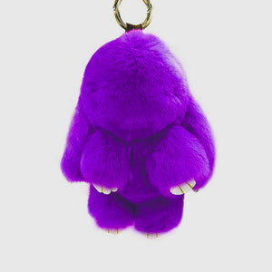 Rabbit Fur Pompom Keychain