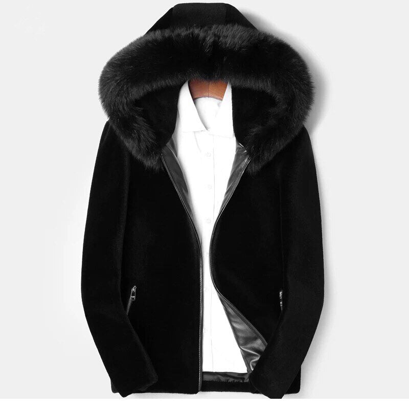 Hooded Shearling with Fox
