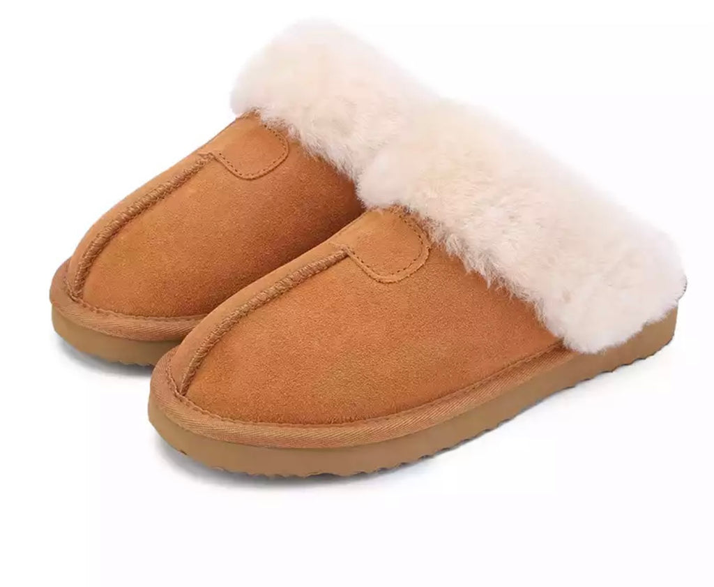 camel Shearling House Slippers
