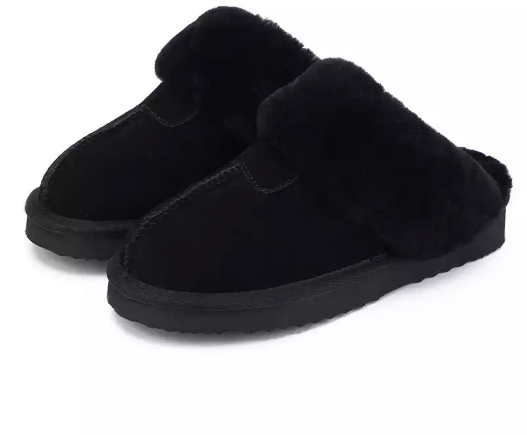 black Shearling House Slippers