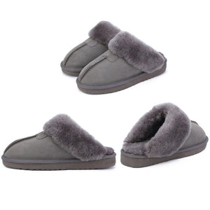 grey Shearling House Slippers
