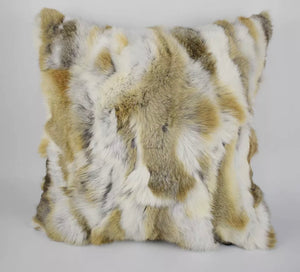 beige Rex Rabbit Fur Pillow