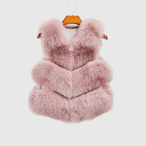 """Light Rose Violet"" Fox Fur Vest"