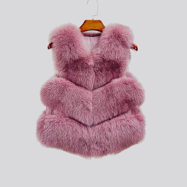 """Dark Rose Violet"" Fox Fur Vest"