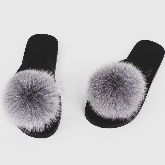 Light Grey Pom Pom Slides