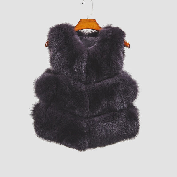 """Dark Grey Violet"" Fox Fur Vest"