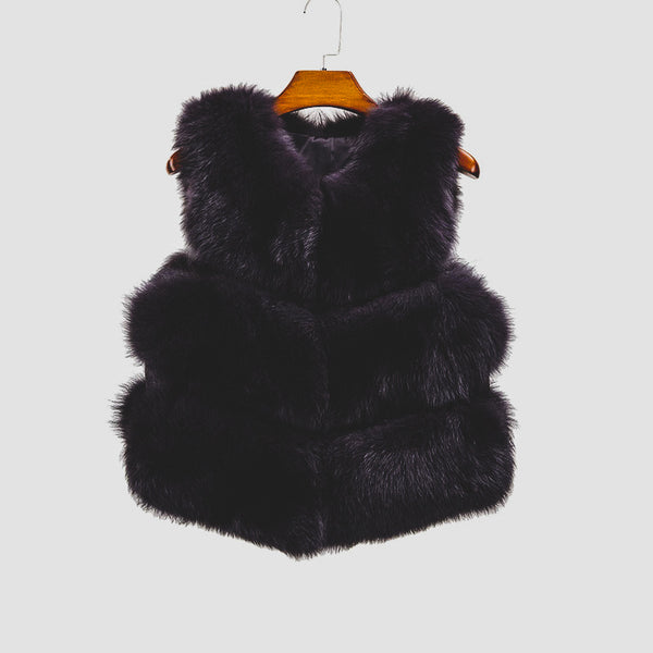 """Black Violet"" Fox Fur Vest"