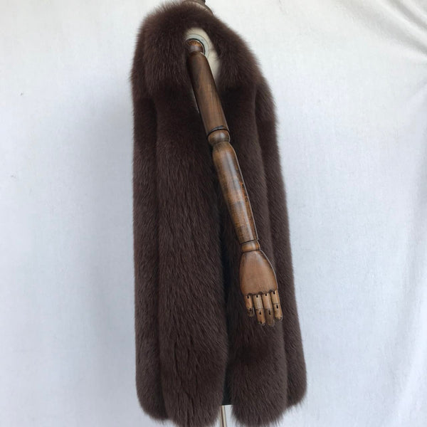 """Brown Olivia"" long Fox Fur Vest"