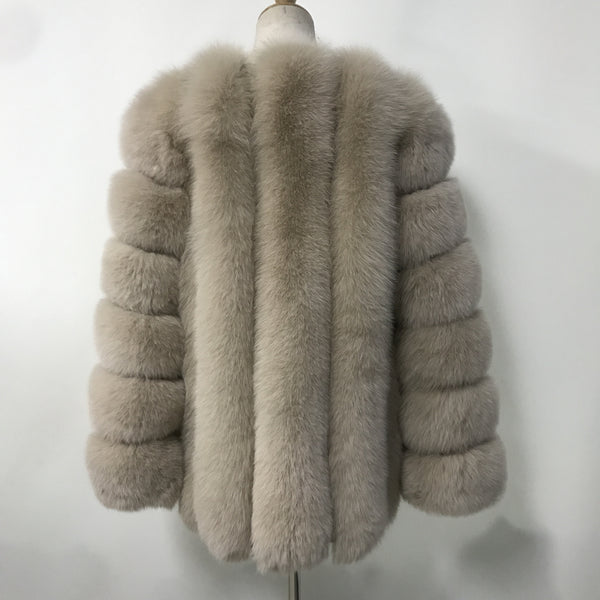 """Beige Grace"" Fox Fur Coat"