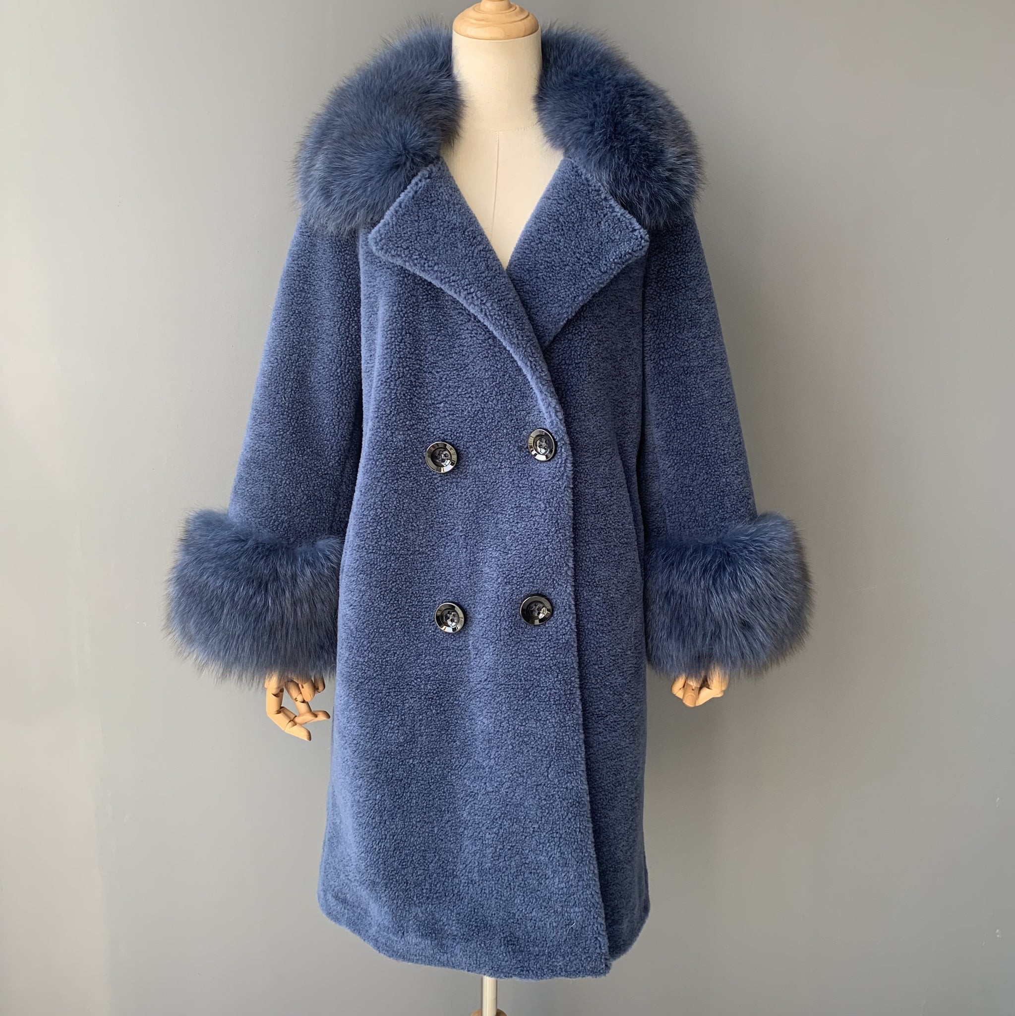 """Blue Kennedy"" Wool Trench Coat"