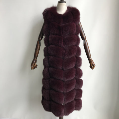 """Burgundy Amelie"" long Fox Fur Vest"