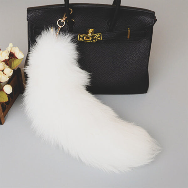 White Arctic Foxtail Keychain