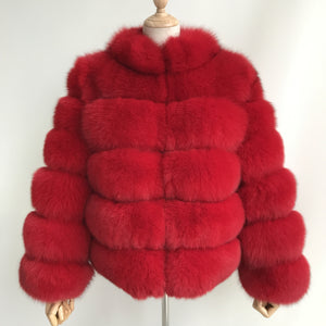 """Red Lucia"" Fox Fur Coat"