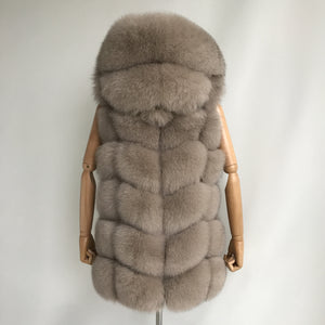 """Beige Amelie"" Hooded Fox Fur Vest"