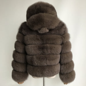 """Brown Pearl"" Hooded Fox Fur Jacket"