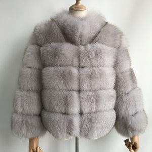 """Natural White Lucia"" Fox Fur Coat"
