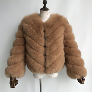 """Camel Paola"" Fox Fur Jacket"