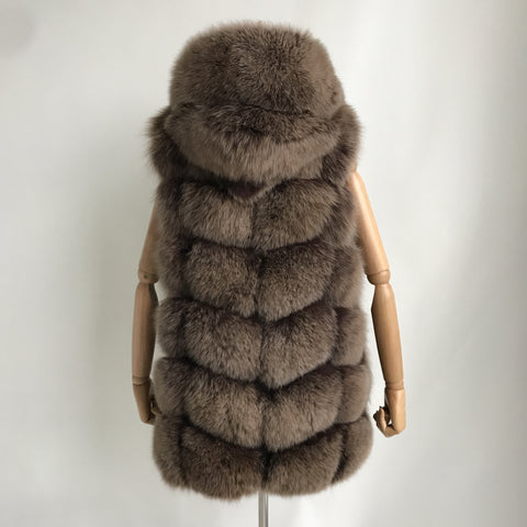 """Mocha Amelie"" Hooded Fox Fur Vest"