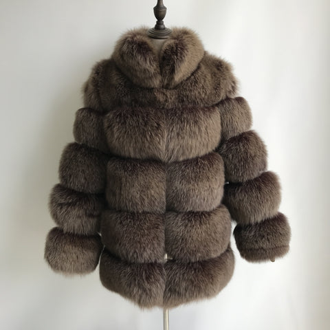 """Brown Lisa"" Fox Fur Coat"