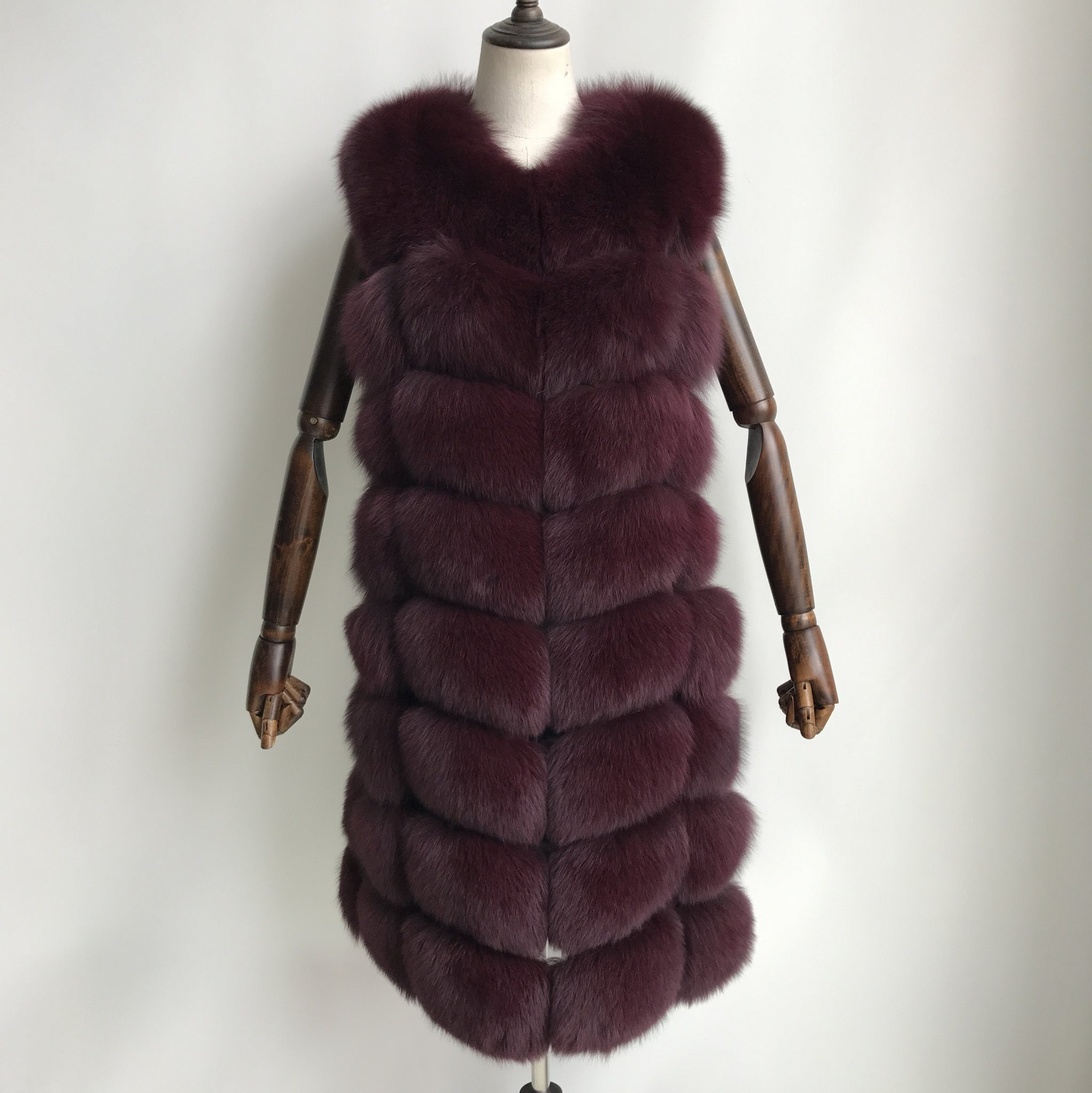 """Burgundy Amelie"" Fox Fur Vest"