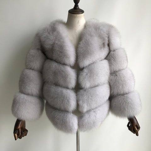 """Natural White Louna"" Fox Fur Jacket"