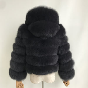 """Dark Grey Pearl"" Hooded Fox Fur Jacket"