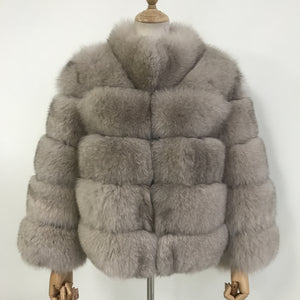 """Stone Lucia"" Fox Fur Coat"