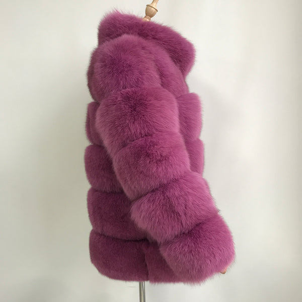 """Raspberry Lisa"" Fox Fur Coat"