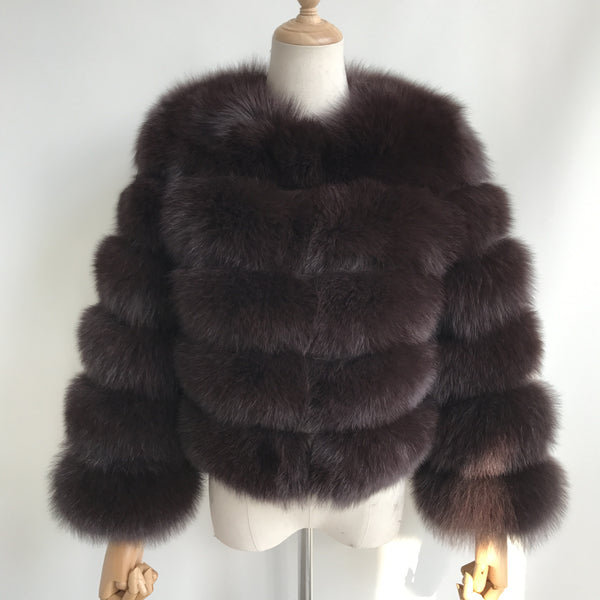 """Brown Pearl"" Fox Fur Jacket"