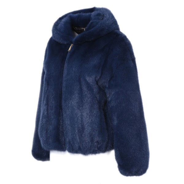 """Coralie"" Hooded Mink Fur Jacket"