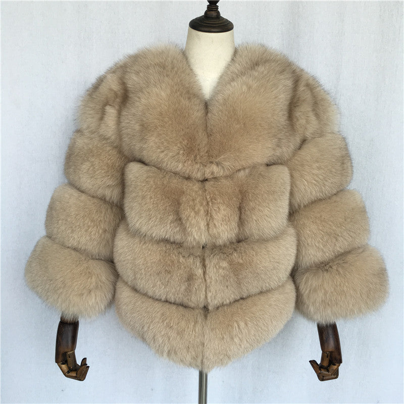 """Beige Louna"" Fox Fur Jacket"
