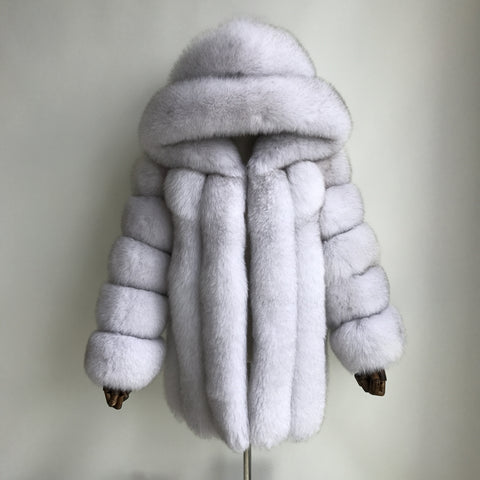 """Natural White Grace"" Hooded Fox Fur Coat"