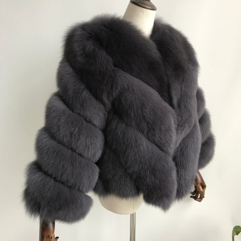 """Ash Grey Luisa"" Fox Fur Jacket"