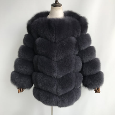 """Ash Amelie"" Transformer Fox Fur Coat"