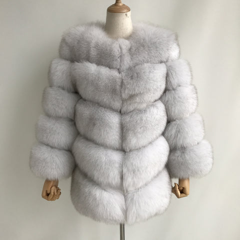 """Natural White Louna"" Fox Fur Coat"