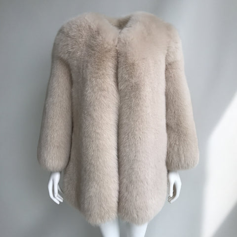 """Beige Gaelle"" Fox Fur Jacket"