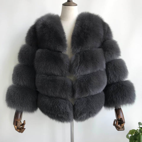 """Dark Grey Louna"" Fox Fur Jacket"