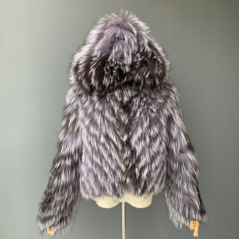 """Sylvie"" Hooded Silver Fox Fur Jacket"