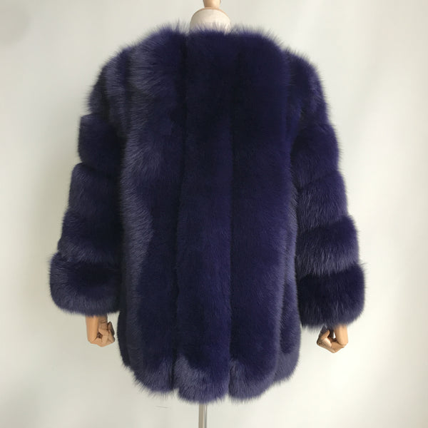 """Dark Blue Grace"" Fox Fur Coat"